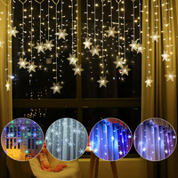 3.5M 96 LEDS Outdoor Christmas Curtain Lights Snowflake LED String Lights Garden Home Decor Christmas Lights LED Curtain Light