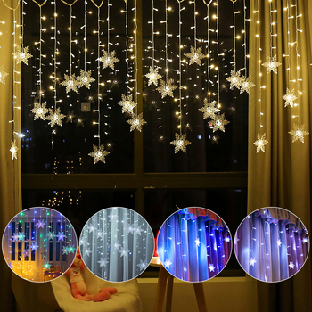 lmid 2m 0 6m 60 leds snowflake led curtain lights for xmas tree garden home decoration christmas garland led string waterproof 3.5M 96 LEDS Outdoor Christmas Curtain Lights Snowflake LED String Lights Garden Home Decor Christmas Lights LED Curtain Light