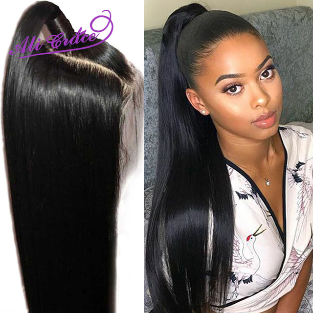Ali Grace Peruvian Straight Lace Front Wig 360 Lace Frontal Human Hair Wig with Baby Hair Remy 13×6 Straight Human Hair Wigs