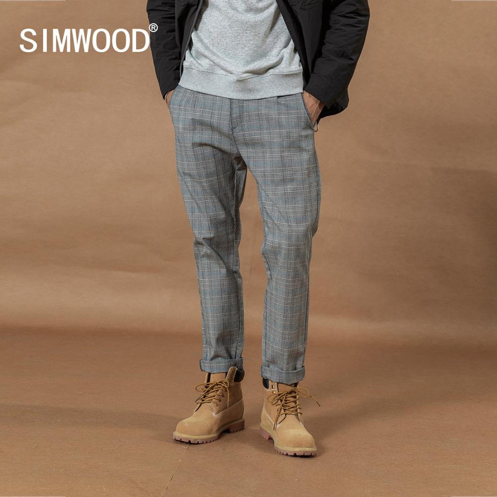 SIMWOOD 2019 Autumn Winter New Smart Casual Plaid Pants Men Straight Ankle-Length Trousers Loose Plus Size Fashion Pant SI980532