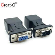 Alta qualidade db9 rs232 macho/fêmea para rj45 fêmea adaptador com porto para lan ethernet porta conversor