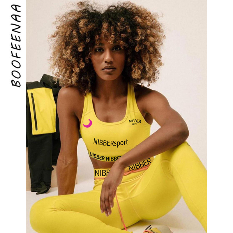 BOOFEENAA Letter Print Slim Sports Fitness Outfits Two Piece Set Woman Tracksuit Crop Top Pants Sexy 2 Piece Sweatsuit C87-AE08