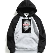 Men's Hooded Sweatshirt Brand Einstein Marvel Letter Print Long Sleeve Hoodies Man Cotton Hoodie Fleece White Hoodie 2019 цена 2017