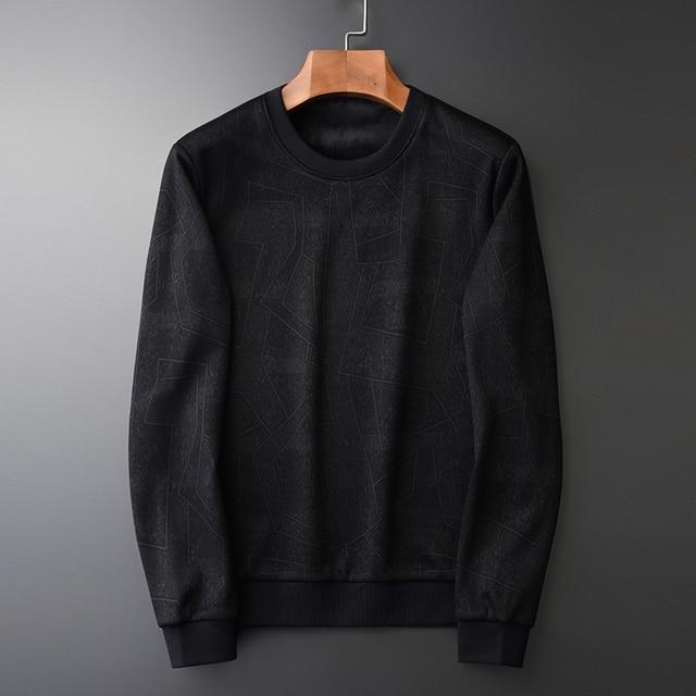Minglu Black Inner Velvet Sweatshirt Men Luxury Round Collar Jacquard Winter Sweatshirt Male Plus Size 4xl Slim Fit Mens Hoodies