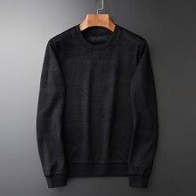 Minglu preto interior veludo moletom dos homens luxo gola redonda jacquard inverno moletom masculino plus size 4xl ajuste fino hoodies dos homens