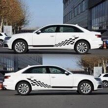 Автомобильные наклейки в обе стороны в полоску, автомобильные виниловые наклейки с графикой, клетчатый флаг для автомобилей, грузовиков, внедорожников, высококачественные автомобильные наклейки
