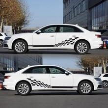Carro ambas as listras laterais decalques adesivos de vinil gráficos bandeira quadriculada para automóveis caminhão suv alta qualidade adesivos de carro