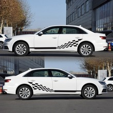 รถด้านข้างลาย Decals สติกเกอร์อัตโนมัติกราฟิกไวนิล Checkered FLAG สำหรับรถยนต์รถบรรทุก SUV คุณภาพสูงรถสติกเกอร์