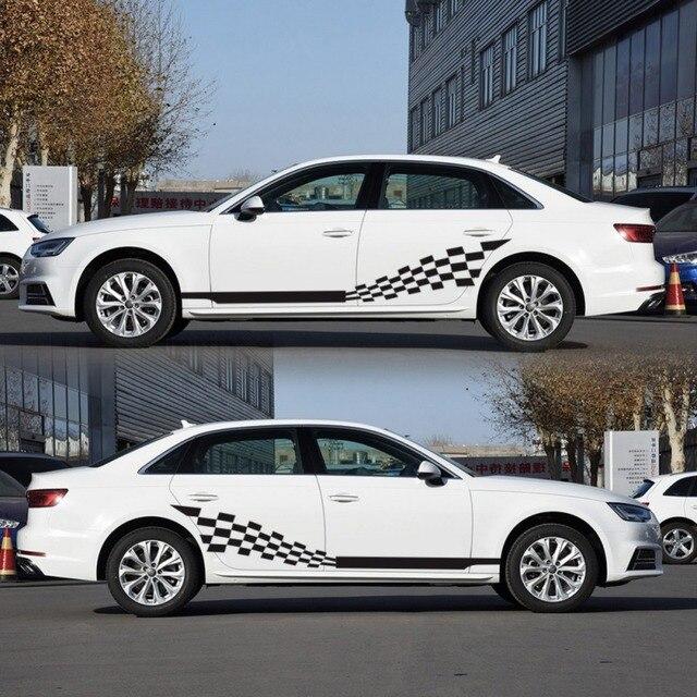 Voiture deux bandes latérales autocollants autocollants Auto vinyle graphiques drapeau à carreaux pour Automobiles camion SUV haute qualité voiture autocollants