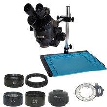 Microscopio Trinocular industrial de un solo brazo, soporte de 3,5x 90X, lente de objetivo de 0,5X 2,0x, reparación electrónica de teléfono móvil de cristal