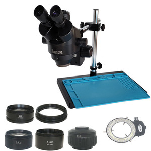 Image 1 - Single arm support 3.5X 90X industrial Trinocular stereo microscope 0.5X 2.0X Objective lens glass cell phone Electronics repair