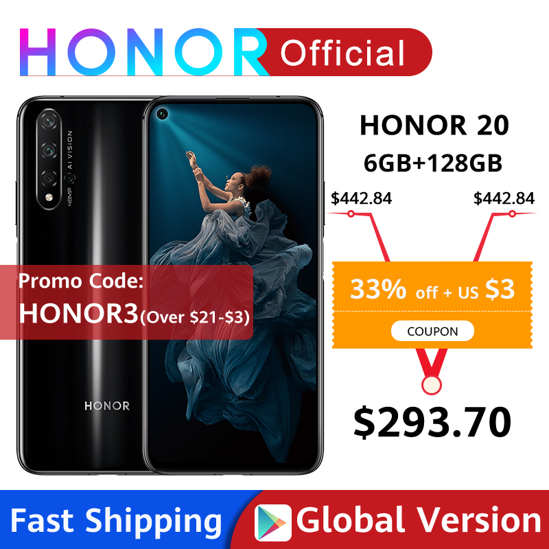 Глобальная версия Honor 20 смартфон 6G128G Kirin 980 Восьмиядерный 6,26 ''48MP четыре камеры мобильный телефон NFC Google Play SuperCharge