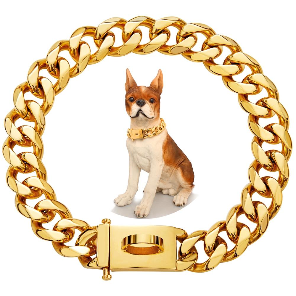 19 мм Товары для домашних животных Прочная нержавеющая сталь Аксессуары для собак цепь для средних и больших собак Золотая твердая кубинска...