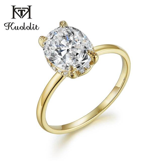 Kuololitรูปไข่8X10 Moissaniteแหวนผู้หญิงแหวนทองคำขาว10K Dสีฟ้าสีเขียวSolitaireหมั้นเครื่องประดับFine 585