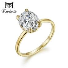 Женское кольцо Kuololit Oval 8x10 Moissanite, однотонное кольцо из желтого золота 10 к, D, цвет синий, зеленый, обручальное ювелирное изделие 585