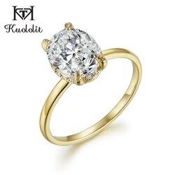 Kuololit owalny 8x10 Moissanite pierścień dla kobiet stałe 10K pierścionek z żółtego złota D kolor niebieski zielony pasjans elegancka biżuteria zaręczynowa 585