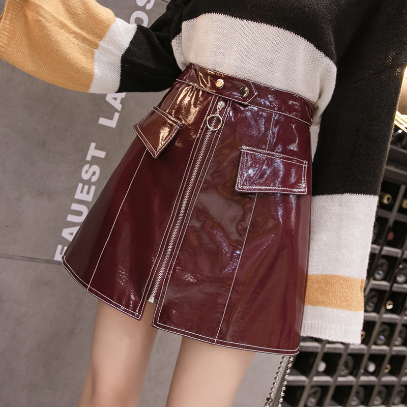 Skirt 2018 Autumn And Winter New Products Debutante WOMEN'S Dress Fashion Light PU Leather Short Skirt