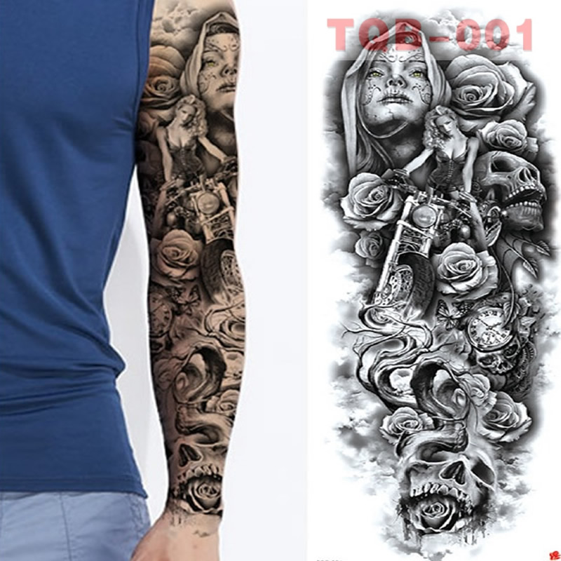 Large Arm Sleeves Waterproof Temporary Tattoo Sticker Man Women Full Skull Fake Color Totem Tattoo Stickers Body Art Leg Arm