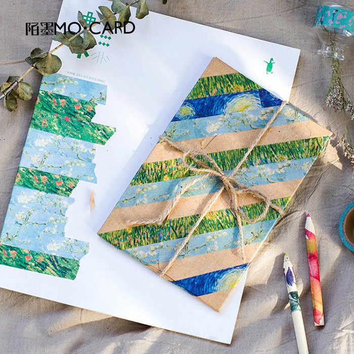 1 Pcs Washi Tape DIY Lukisan Van Gogh Kertas Masking Tape Dekoratif Perekat Scrapbooking Stiker Ukuran 15 Mm * 7 M