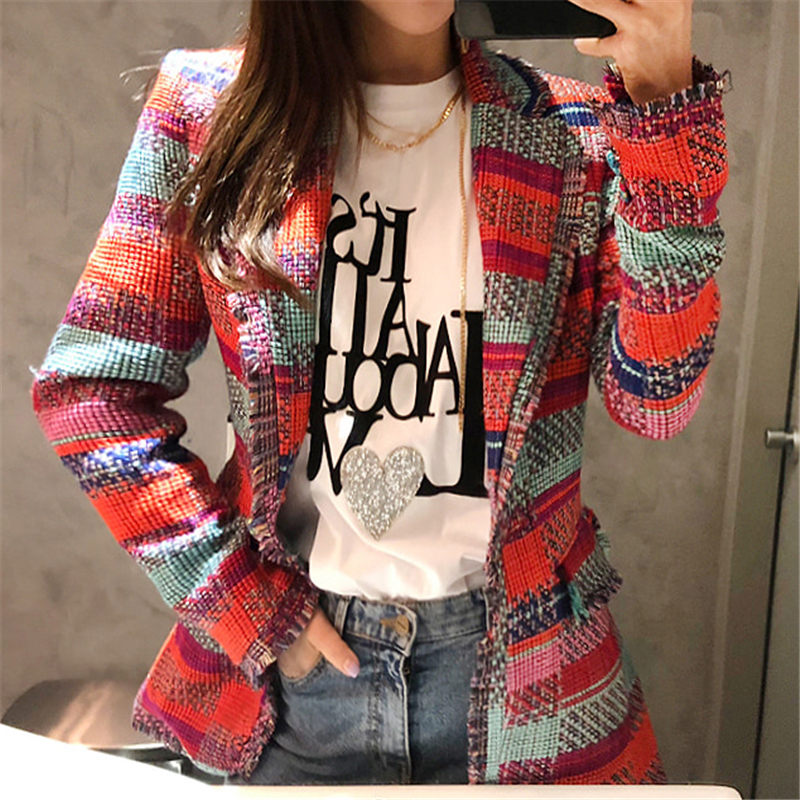 Coat Women Blazer Jacket Tassel-Suit Plaid Single-Button Vintage Femme Casual Winter title=