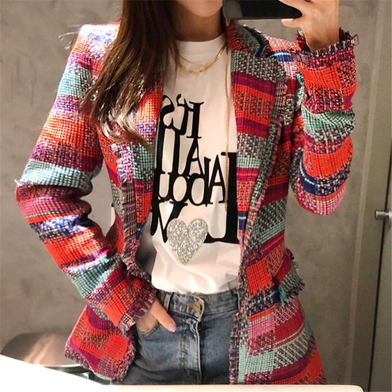 NEW Vintage Red Plaid Tweed Blazer Coat Women Single Button Tassel Suit Jacket Winter Casual Blazer Femme Slim Fit Outwear F1744