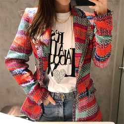 NEW Vintage Red Plaid Tweed Blazer Mantel Frauen Einzigen Taste Quaste Anzug Jacke Winter Casual Blazer Femme Slim Fit Outwear f1744