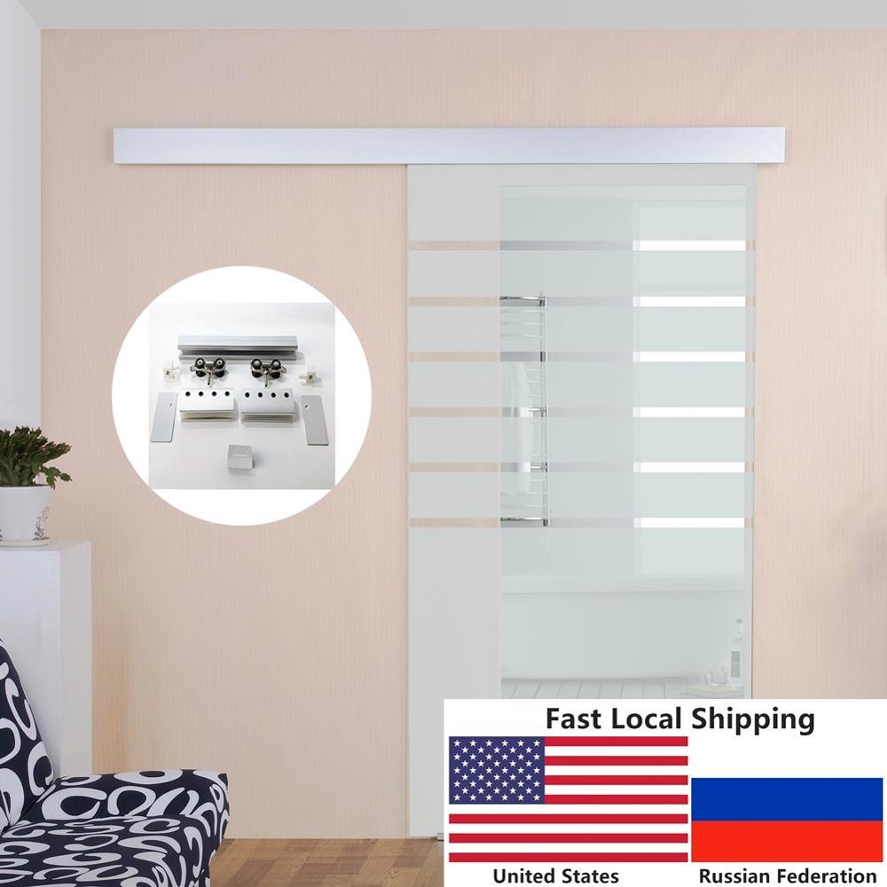 4.9FT/6FT/6.6FT Aluminium alloy frameless brushed glass shower sliding barn door hardware Track kit 1