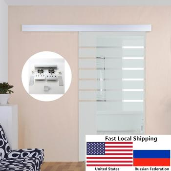 4.9FT/6FT/6.6FT Aluminium alloy frameless brushed glass shower sliding barn door hardware Track kit 1