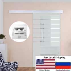 6.6FT алюминиевый сплав выполненные матового стекла Душ раздвижные двери сарая оборудования трек комплект
