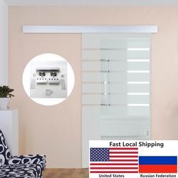 4.9FT/6FT/6.6FT Aluminium alloy frameless brushed glass shower sliding barn door hardware Track kit