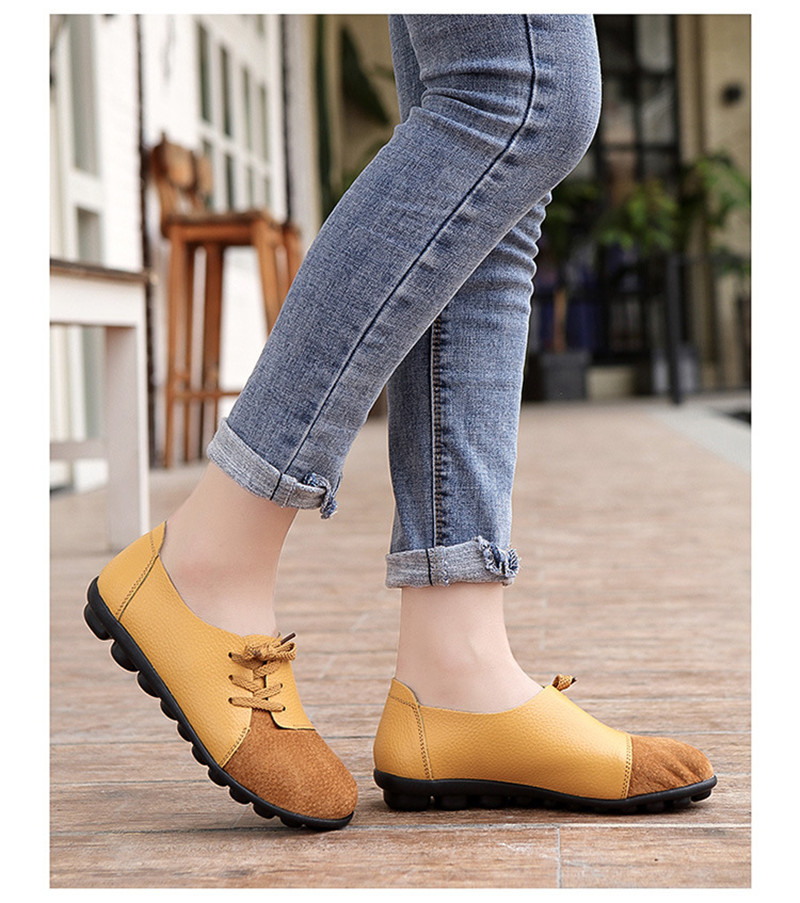 2019 New Leather Women Plus Size Sewing Flats Moccasins Loafers Ballet Flats Women Comfortable Soft Casual Shoes Ladies VT634 (16)