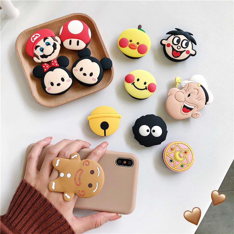 Cute Cartoon Round Universal Mobile Phone Ring Holder Airbag Gasbag fold Stand Bracket Mount For iPhone XR Samsung Huawei Xiaomi