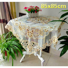 Square 85cm Luxury European Beaded Mesh Embroidery Tablecloth Balcony Round Table Mat Furniture Dust Cloth Mantel Nappe Tapete