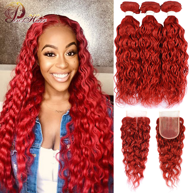 Brazilian Water Wave Red Bundles With Closure Burgundy Red Human Hair Weave Colored Bundles With Closure 99J Pinshair Remy Hair