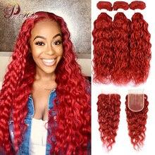 Brazylijska fala wody czerwone wiązki z zamknięciem burgundowe czerwone ludzkie włosy wyplata kolorowe wiązki z zamknięciem 99J Pinshair Remy włosy