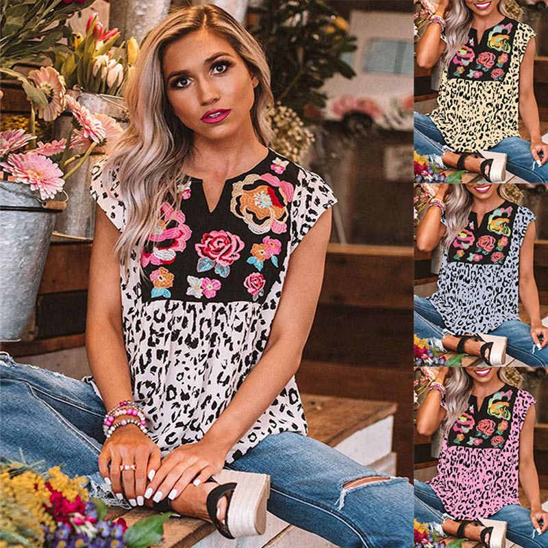 Plus Size Women Leopard Printed Summer Blouse Indie Folk Sleeveless V-neck Loose Blouses Female 2020 Fashion Casual Lady Clothes