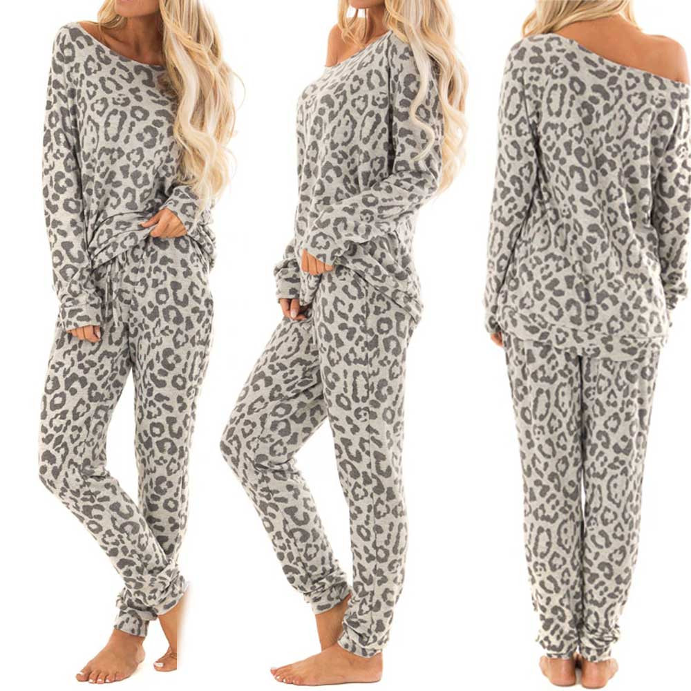 Leopard Suit 2Pcs Women Leisure Wear Lounge Wear Sports Tracksuit  Print Pants Sets  2 Piece Set Autumn Winter New  Home Suit