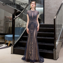 New Arrival 2019 Luxury Evening Dresses Cap Sleeves Heavy Beaded Navy Gown Trumpet Formal Long Party