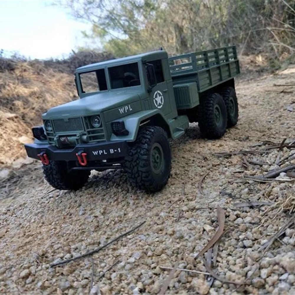 WPL 1/16 Militer Truk RC Mobil Listrik 6WD Kendaraan Off Road dengan Remote Kontrol Nirkabel Mobil Anak-anak Hadiah Ulang Tahun