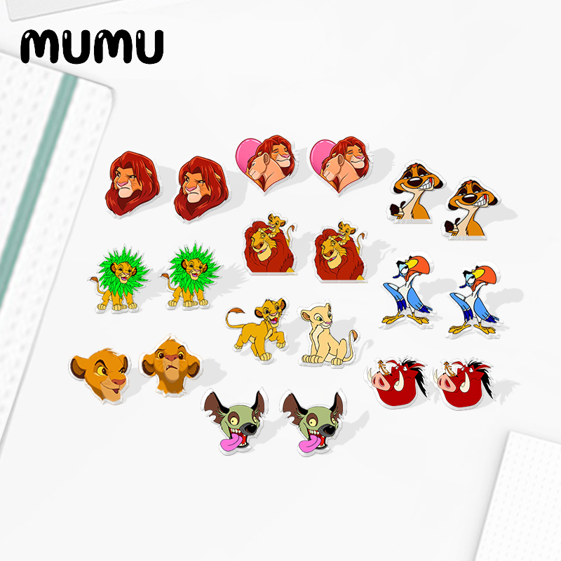 2020 New Lion King Simba Earring Handamde Acrylic Earring Silver Plated Stud Earrings Epoxy Jewelry Gifts Children