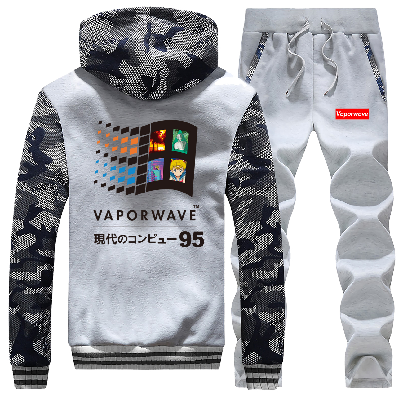 Japanese Anime Coat Hip Hop Tracksuit Aesthetic Vaporwave Vintage Hoodies Thick Sweatshirt Men Hip Hop Jacket+Pants 2 Piece Sets