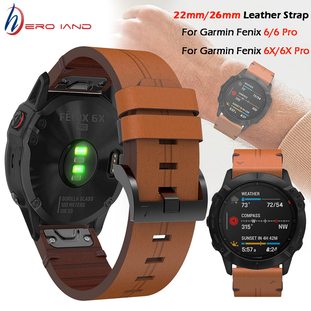For Garmin Fenix 5 / 5X Plus 6 / 6X Pro Smart Watch Leather Band Watchband Strap Bracelet 20 22mm 26mm Quick Fit Wristband Strap