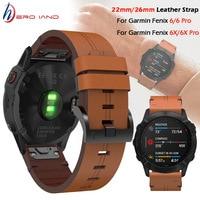 Für Garmin Fenix 5 / 5X Plus 6 / 6X Pro Smart Uhr Leder Band Armband Armband Armband 20 22mm 26mm Quick Fit Armband Strap