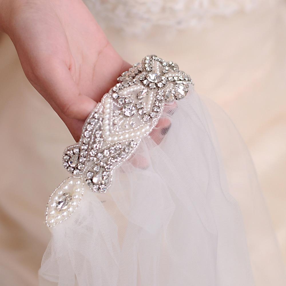 TRiXY VS208 Elegant wedding veil bride veil wedding decoration ivory bead one-layer veil flower girl veils bridal short veil