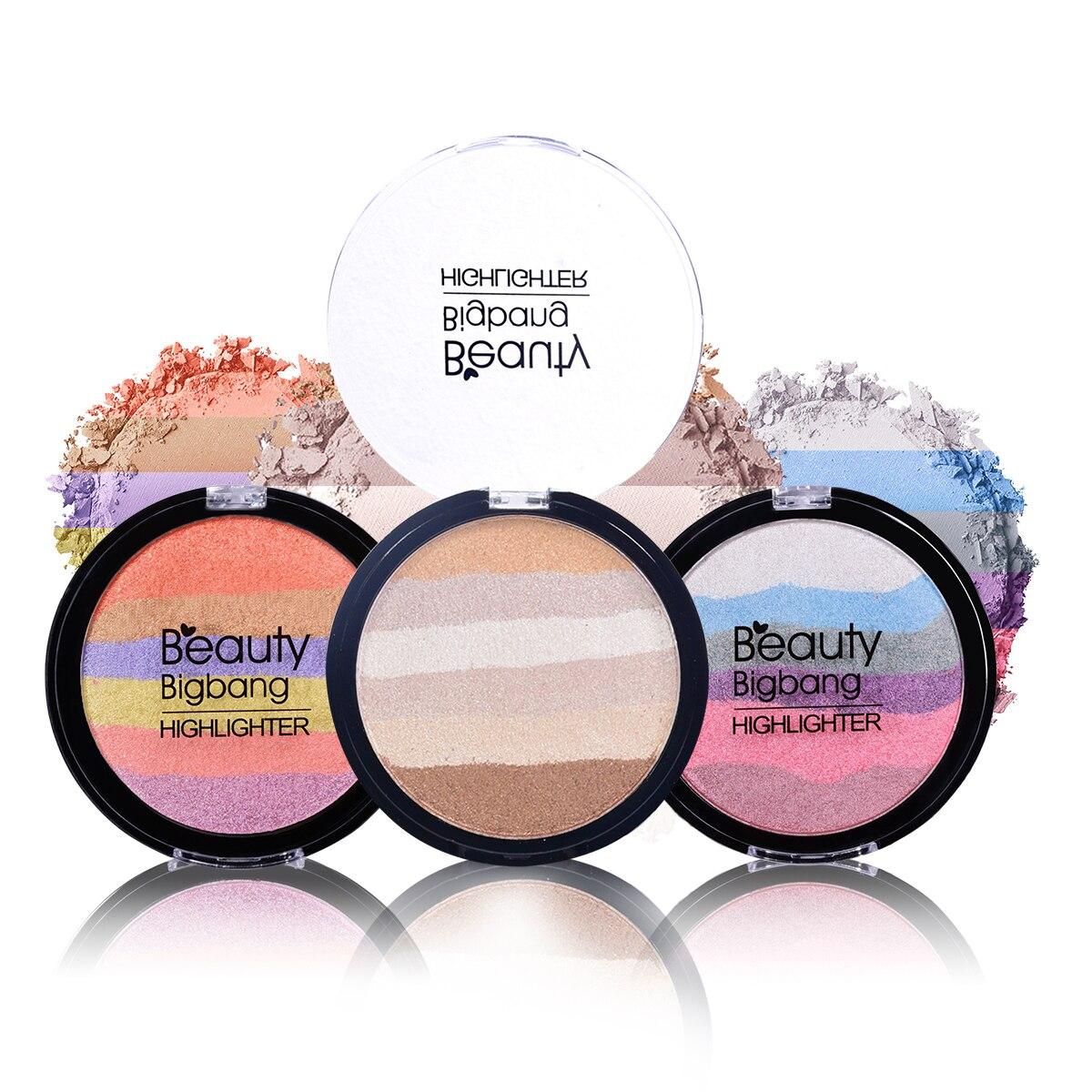 BeautyBigBang Gesicht Make-Up Regenbogen Iluminador Highlighter Pulver Palette Bronzer Contour Weiche Mineral Palette Maquiagem
