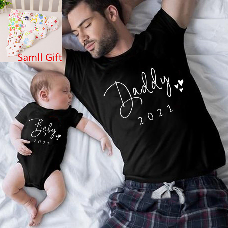 Funny Daddy and Baby 2021 Print Family Matching Clithing Balck Cotton Matching Family Look Outfits for Dad Son Daughter Tshirt