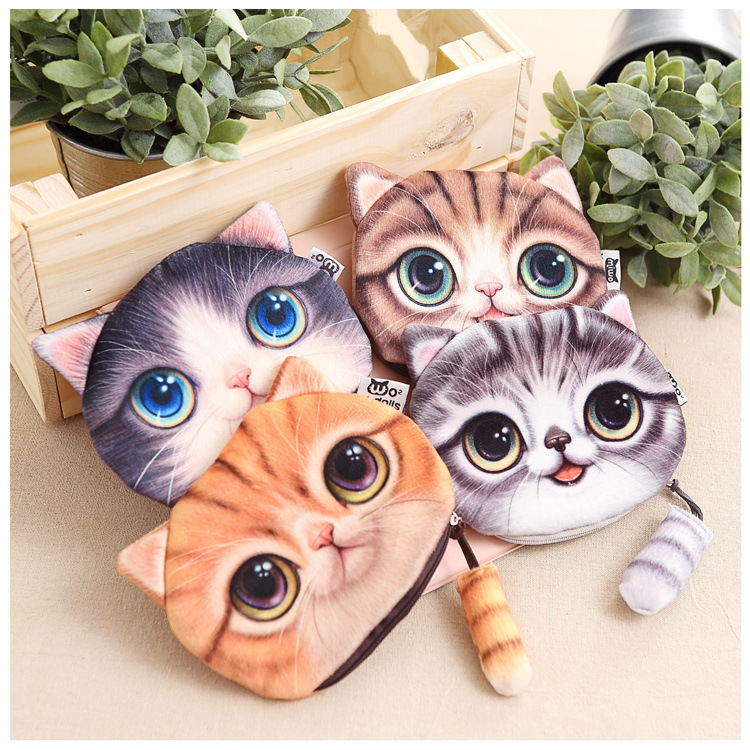 New Style Cat Plush Mobile Phone Bag Tail Stereo Cat Purse Cosmetic Bag Earphones Data Cable Storage