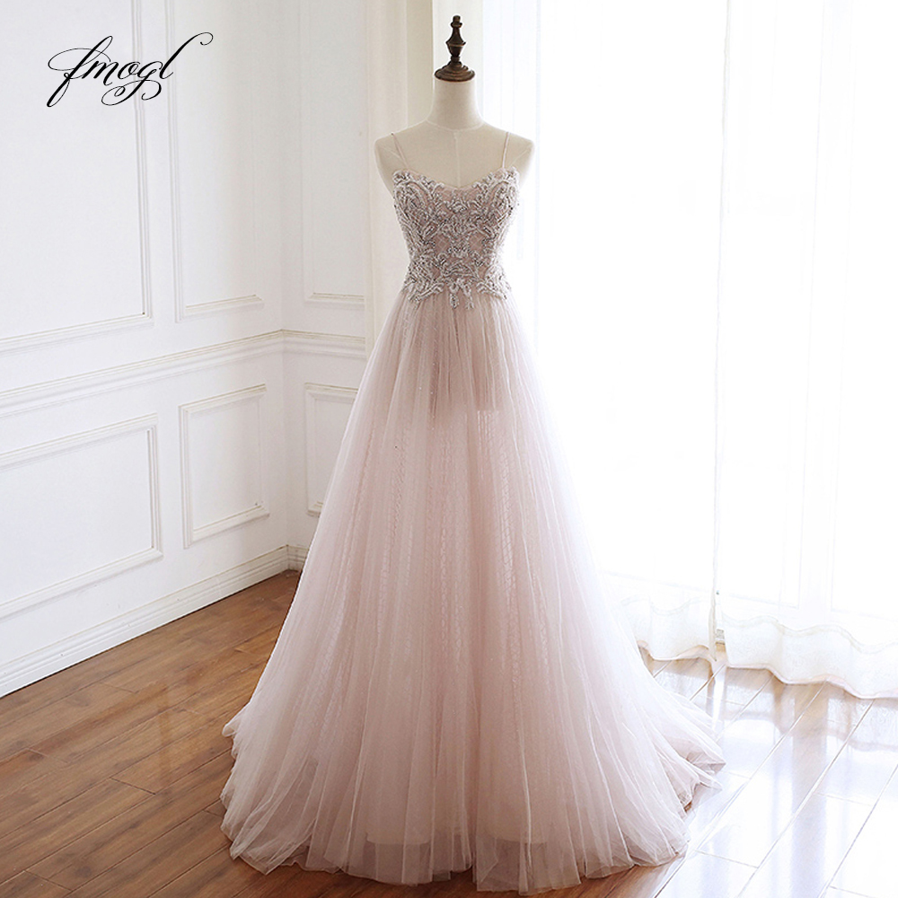 Fmogl Elegant Sweetheart Beaded Lace Long Evening Dresses 2019 Luxury Spaghetti Straps Pearls Sweep Train Formal Dress For Party