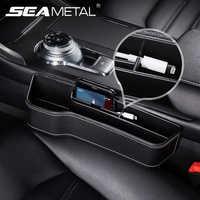 Organizador de asiento de cuero PU Interior lateral de asiento, almacenamiento de hendidura de asiento, bolsillo multifuncional, accesorios para automóviles