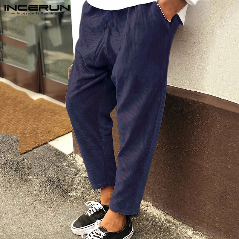 Fashion Men Corduroy Pants Winter Solid Drawstring Streetwear Casual Loose Trousers Men Joggers Pantalones Hombre INCERUN S-5XL
